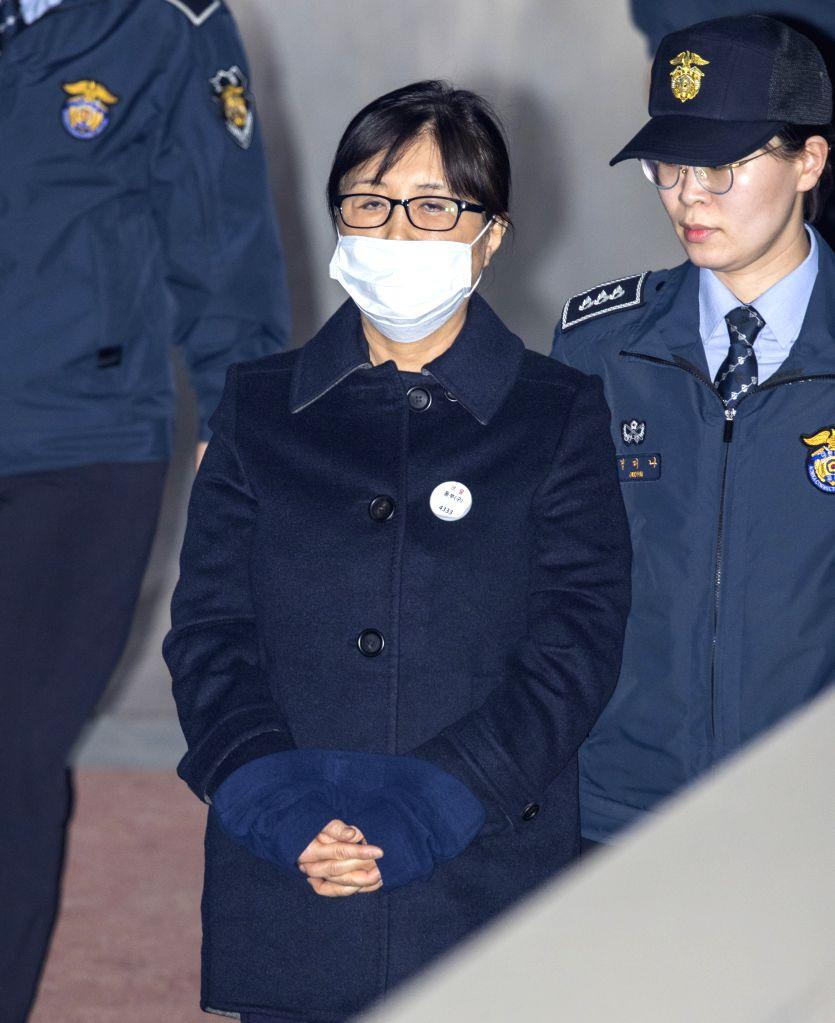 SEOUL, Feb. 13, 2018 - Choi Soon-sil, a confidante of former South Korean President Park Geun-Hye, arrives at Seoul Central District Court in Seoul, South Korea, Feb. 13, 2018. Choi Soon-sil, a ...