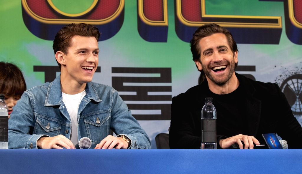 """SEOUL, July 1, 2019 (Xinhua) -- Actors Tom Holland (L) and Jake Gyllenhaal attend a promotion activity of the film """"Spider-Man: Far From Home"""" in Seoul, South Korea, July 1, 2019. The movie will be released in South Korea on July 2. (Xinhua/Lee Sang- - Tom Holland"""