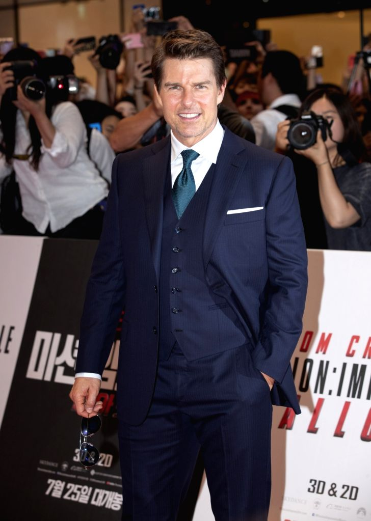 """SEOUL, July 16, 2018 (Xinhua) -- Tom Cruise attends the premiere ceremony of the film """"Mission: Impossible - Fallout"""" in Seoul, South Korea, on July 16, 2018. (Xinhua/Lee Sang-ho/IANS)"""