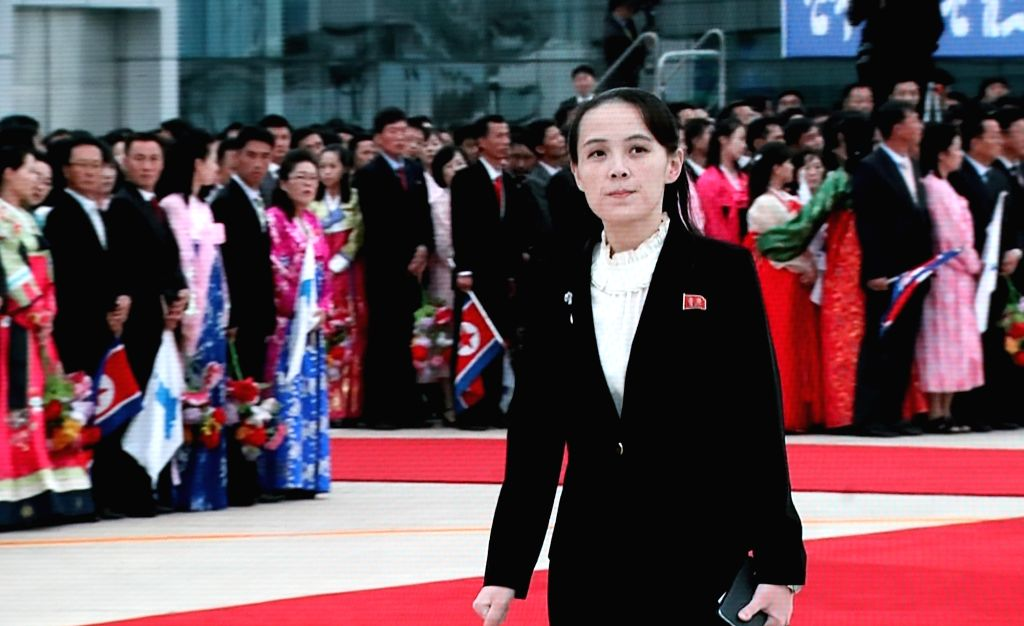 Seoul: Kim Yo-jong, the sister of North Korean leader Kim Jong-un, waits at Pyongyang International Airport on Sept. 18, 2018, for the arrival of South Korean President Moon Jae-in, in this image from TV live coverage shown at the main press center i