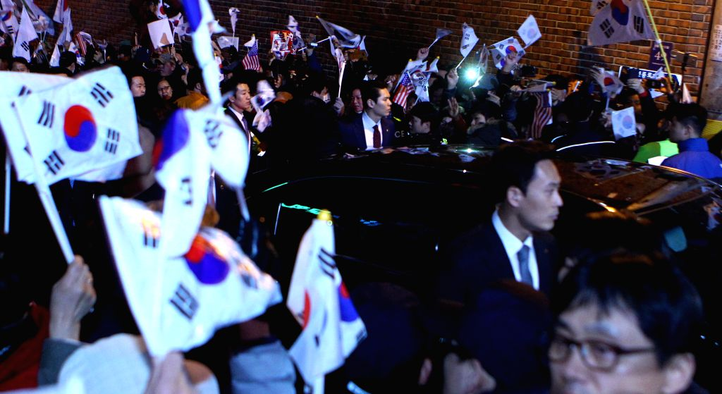 SEOUL, March 12, 2017 - The vehicle carrying ousted South Korean President Park Geun-hye arrives at her private house in Seoul, South Korea, March 12, 2017.