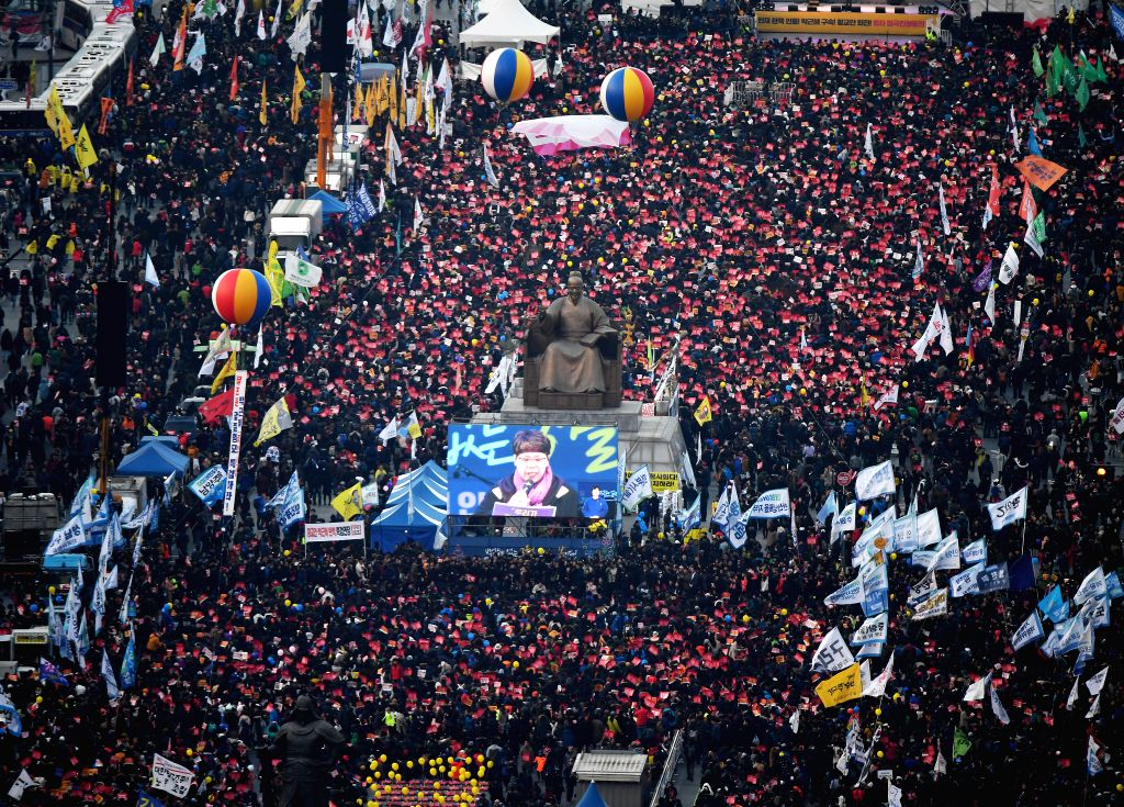 SEOUL, March 4, 2017 - Opponents of President Park Geun-hye rally to protest in Seoul, South Korea, March 4, 2017. Supporters and opponents of South Korean President Park Geun-hye respectively held ...