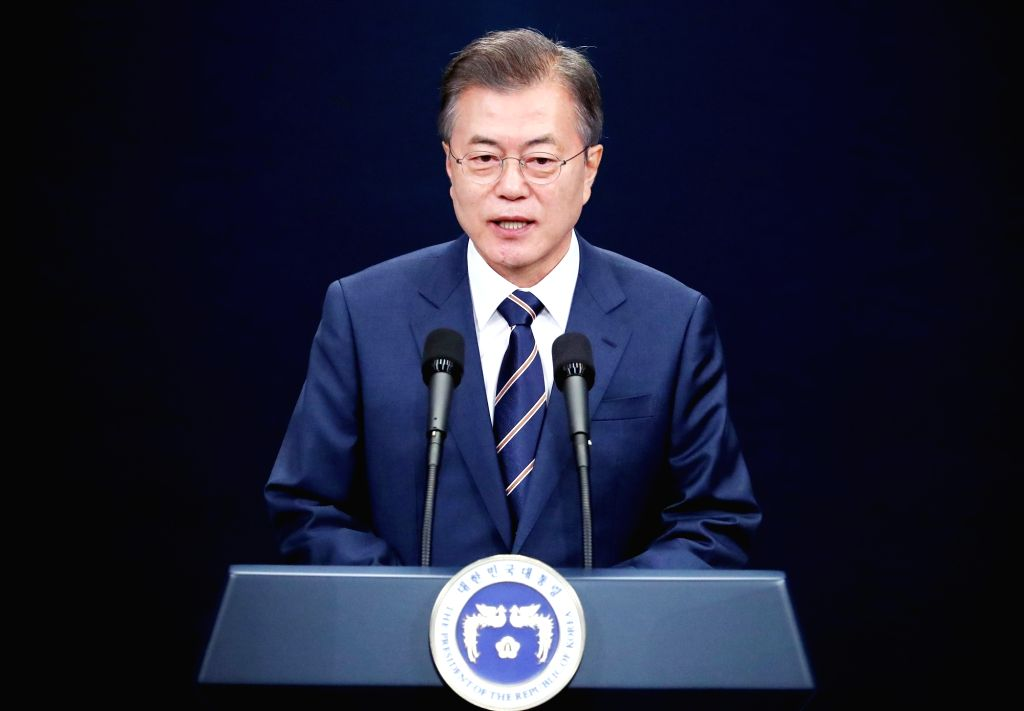 SEOUL, May 27, 2018 - South Korean President Moon Jae-in delivers a nationally televised speech at the Blue House in Seoul May 27, 2018. Moon said on Sunday that top leader of the Democratic People's ...