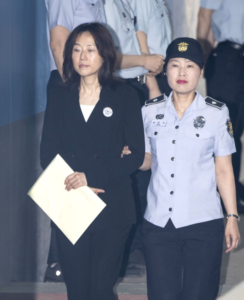 SEOUL, May 29, 2017 - South Korea's former Culture Minister Cho Yoon-sun (L) arrives for a trial at the Seoul Central District Court in Seoul, South Korea, on May 29, 2017. (Xinhua/Lee Sang-ho/IANS) - Cho Yoon