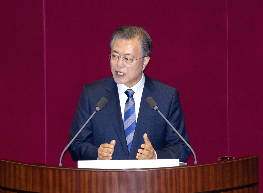 SEOUL, Nov. 1, 2018 - South Korean President Moon Jae-in delivers his budget speech in the National Assembly in Seoul, South Korea, Nov. 1, 2018. South Korean President Moon Jae-in vowed to pursue a ...