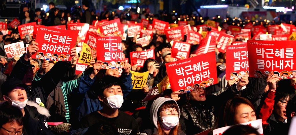 SEOUL, Nov. 19, 2016 - Protesters attend a rally calling for the resignation of South Korean President Park Geun-hye in Seoul, South Korea, on Nov. 19, 2016. Almost one million South Koreans marched ...