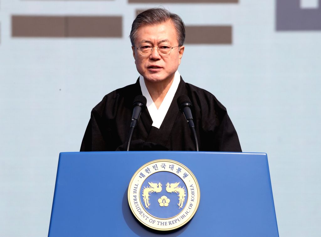 Seoul: President Moon Jae-in addresses a throng of people during a ceremony in Seoul on March 1, 2019, to mark the 100th anniversary of the 1919 popular movement that protested for independence from Japan's colonial rule of the Korean Peninsula.(Yonh