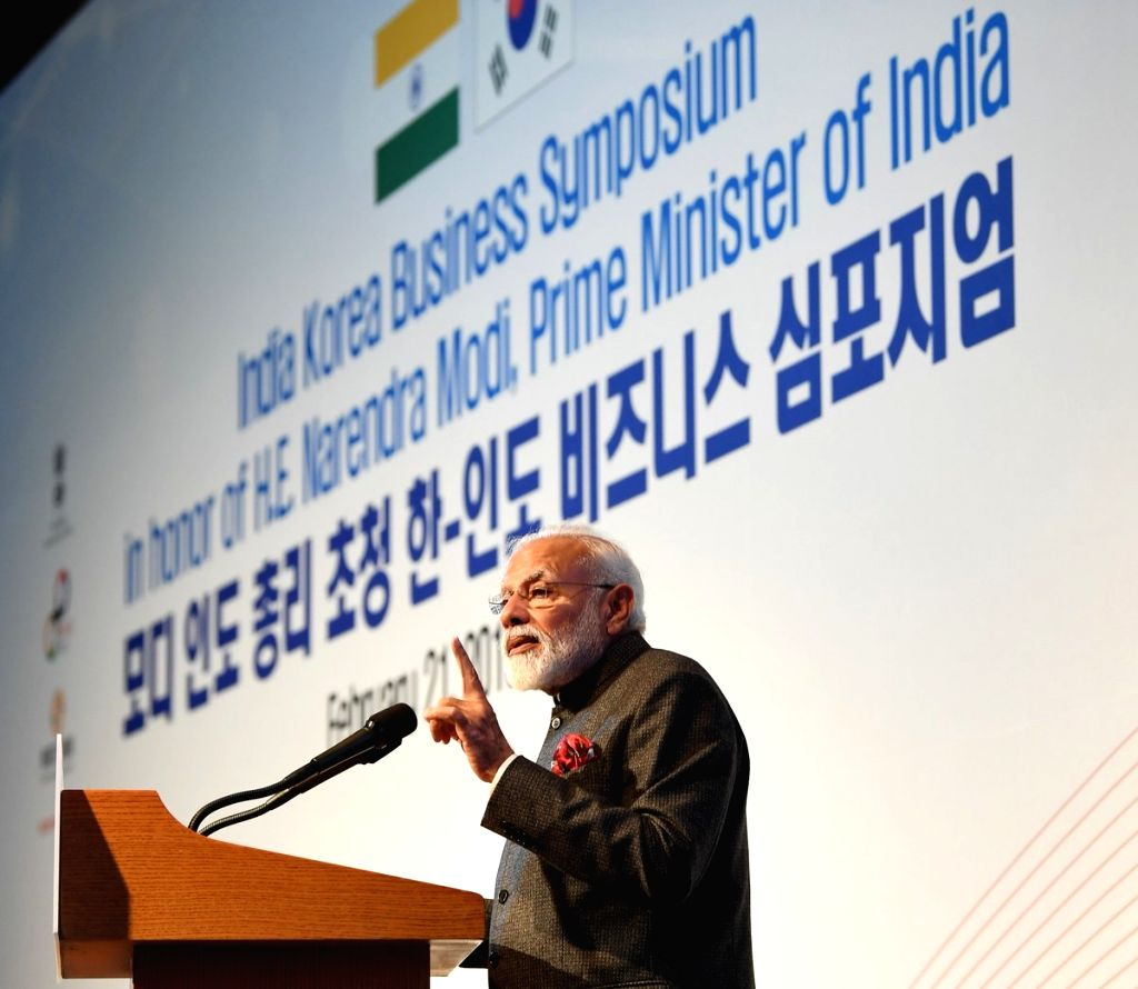 Seoul: Prime Minister Narendra addresses at the India-Korea Business Symposium, in Seoul, South Korea, on Feb 21, 2019. (Photo: IANS/PIB) - Narendra