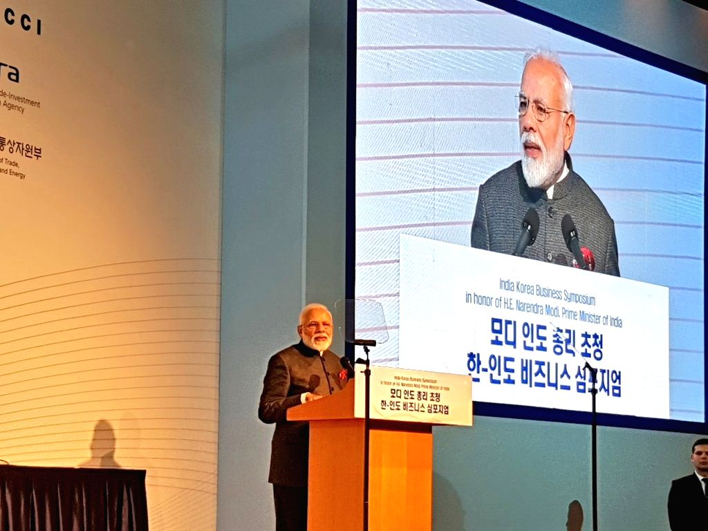 Seoul: Prime Minister Narendra addresses at the India-Korea Business Symposium, in Seoul, South Korea, on Feb 21, 2019. (Photo: IANS/MEA) - Narendra