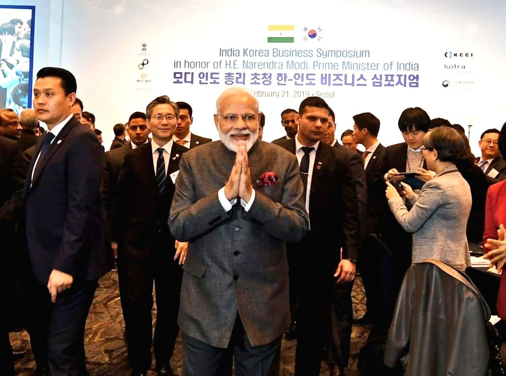 Seoul: Prime Minister Narendra at the India-Korea Business Symposium, in Seoul, South Korea, on Feb 21, 2019. (Photo: IANS/MEA) - Narendra