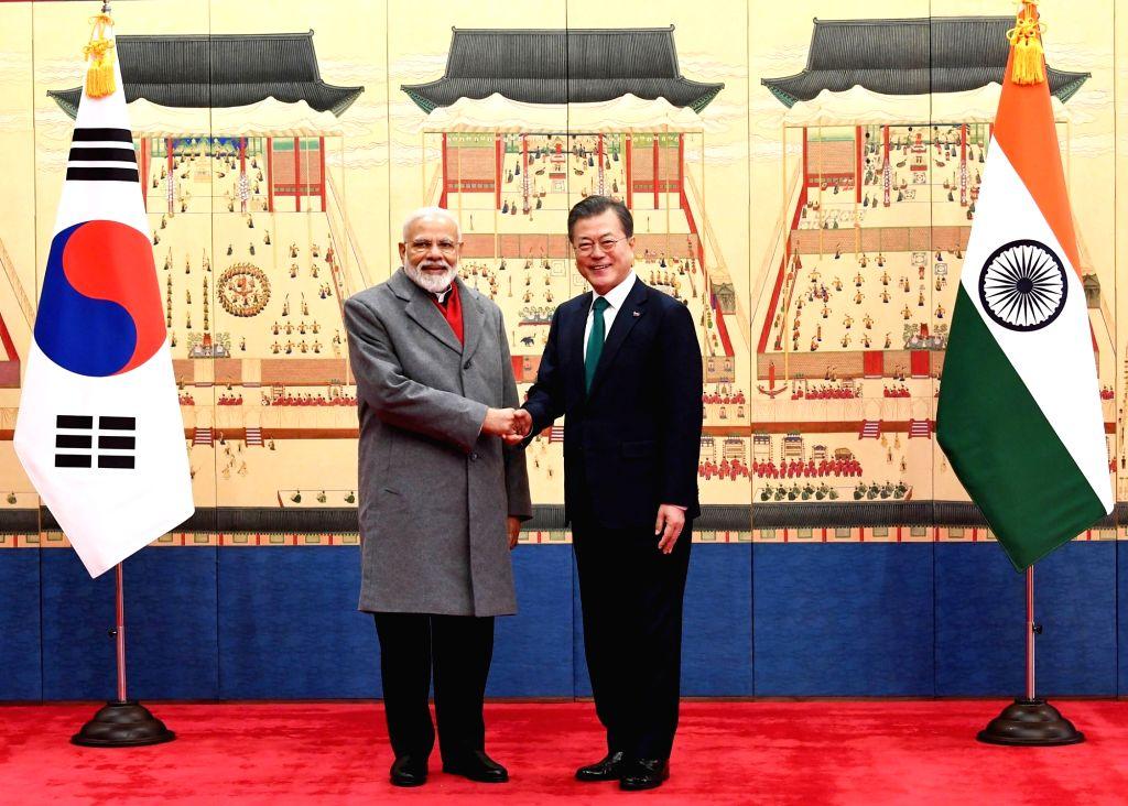 Seoul: Prime Minister Narendra Modi meets South Korean President Moon Jae-in ahead of the delegation level talks, in Seoul, South Korea, on Feb 22, 2019. (Photo: IANS/PIB) - Narendra Modi