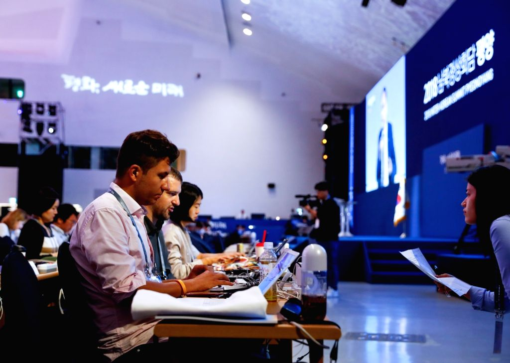 SEOUL, Sept. 17, 2018 - Journalists work at the press center of the upcoming 2018 Inter-Korean Summit in Seoul, South Korea, on Sept. 17, 2018. South Korean President Moon Jae-in and top leader of ...