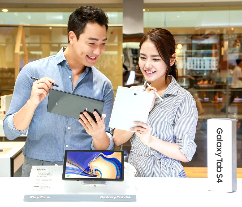 Seoul: This photo provided by Samsung Electronics Co. on Aug. 29, 2018, shows its Galaxy Tab S4 tablet PC that hit the domestic market the same day. Samsung says the device is suitable for use by the entire family as it can assist various activities