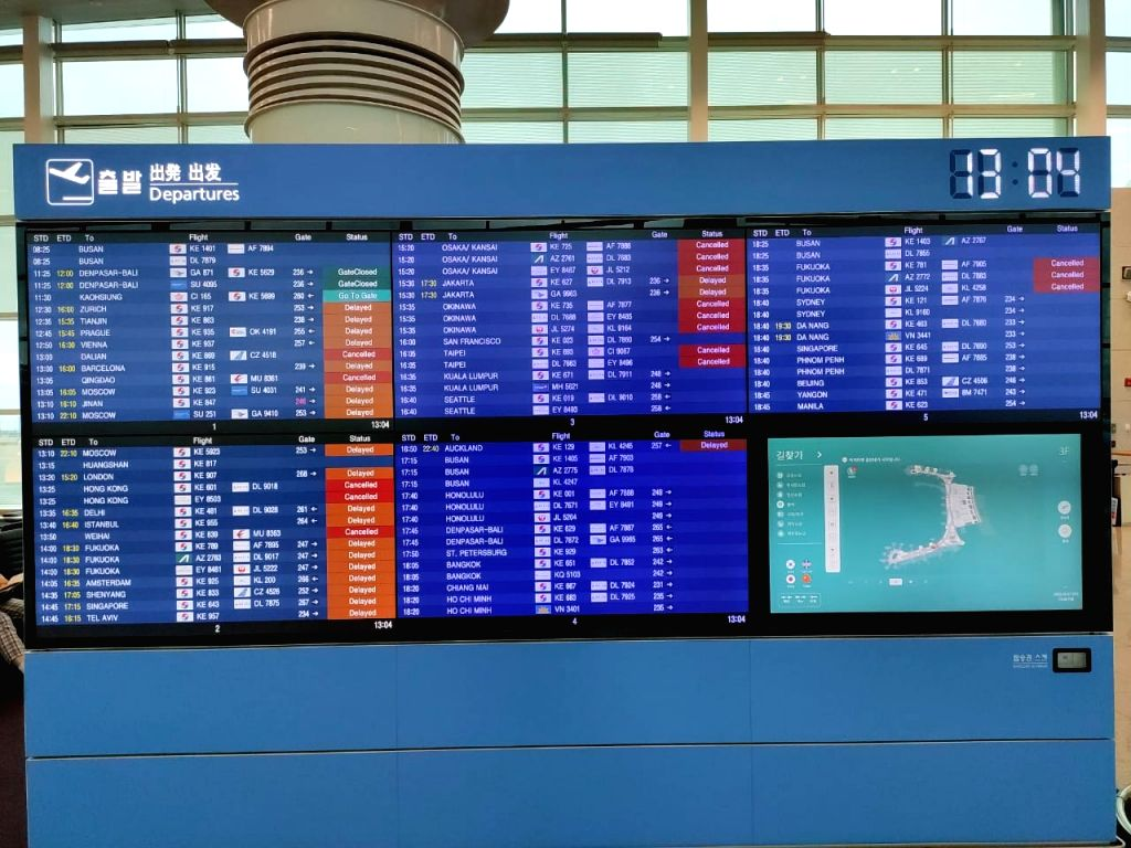 Seoul: Typhoon Lingling on Saturday delayed the return home of Defence Minister Rajnath Singh, who was on a four-day visit to South Korea, as the Seoul Airport remained inoperable for several hours, on Sep 7, 2019. Over a dozen flights to and fro Seo - Rajnath Singh