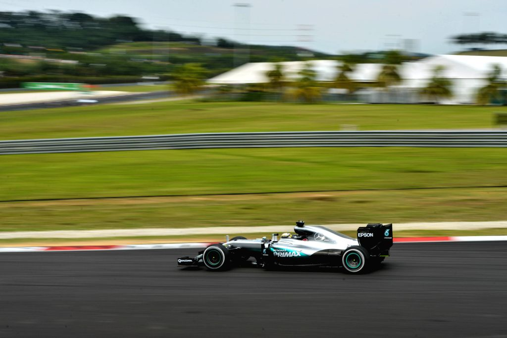 SEPANG, Oct. 1, 2016 - Mercedes AMG Petronas F1 Team's British driver Lewis Hamilton drives during the third practice session of the Formula One Malaysian Grand Prix in Sepang, Malaysia, Oct. 1, 2016.