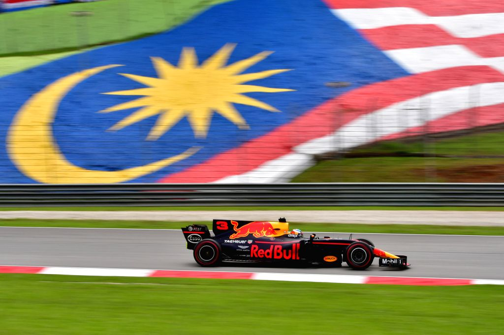 SEPANG, Oct. 1, 2017 - Red Bull driver Daniel Ricciardo of Australia drives at the Formula One Malaysia Grand Prix at the Sepang Circuit in Malaysia, on Oct. 1, 2017. Max Verstappen claimed the title ...