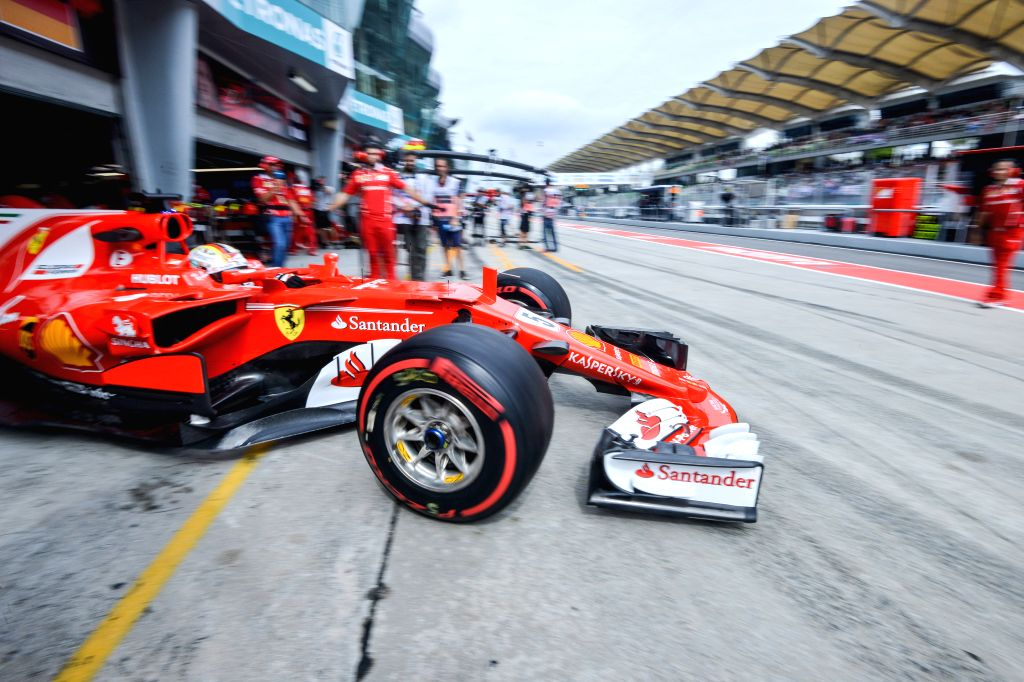 SEPANG, Sept. 29, 2017 - Germany's Formula One driver Sebastian Vettel of Ferrari drives out of the pit during the second practice session of the Formula One Malaysia Grand Prix at the Sepang Circuit ...