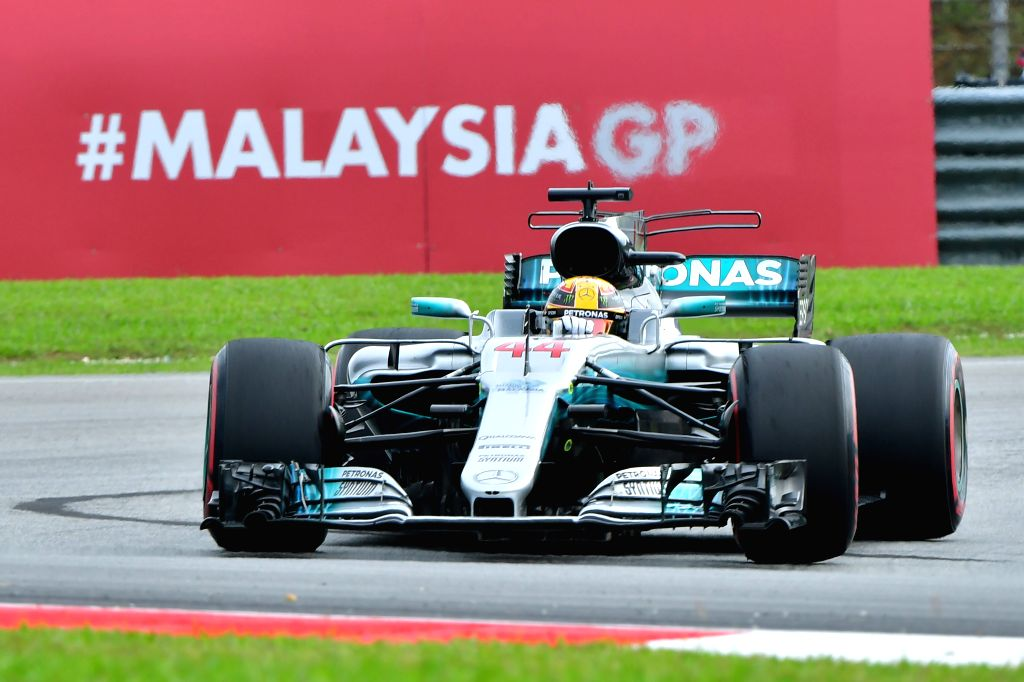 SEPANG, Sept. 29, 2017 - Mercedes' British driver Lewis Hamilton competes during the second practice session of the Formula One Malaysia Grand Prix at the Sepang Circuit in Malaysia, on Sept. 29, ...