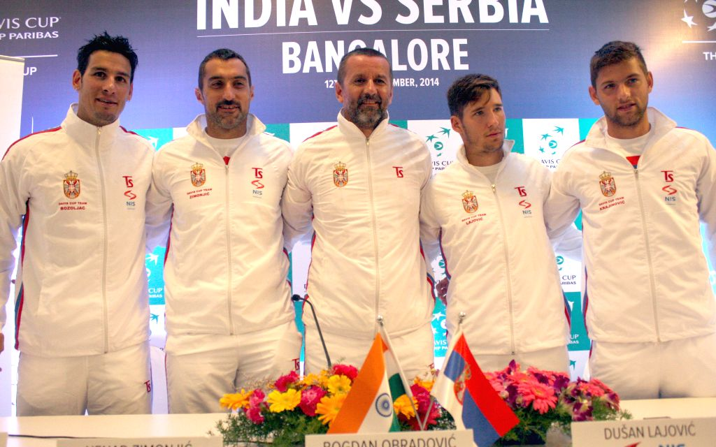 Serbian tennis players Ilija Bozoljac, Nenad Zimonjic, Bogdan Obradovic, Dusan Lajovic and Filip Kranjinovic during a press conference ahead of a Davis Cup 2014 at KSLTA in Bangalore on Sept 9, 2014.