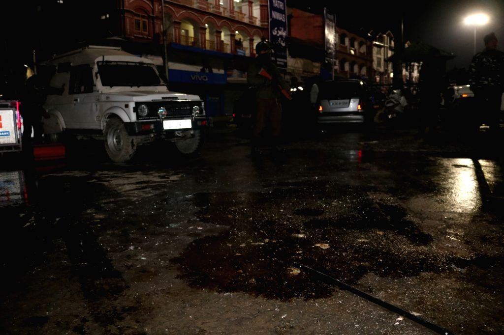 Seven security personnel and two civilians were injured in a grenade attack by militants at Lal Chowk in Srinagar on Feb 10, 2019.