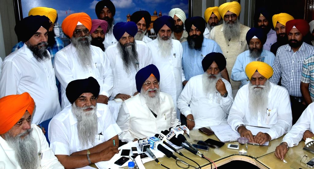 SGPC president Avtar Singh Makkar addresses a press conference ahead of the anniversary of Operation Bluestar, in Amritsar on May 31, 2016. - Avtar Singh Makkar