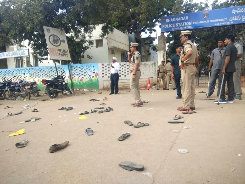 Shadnagar: The view outside Shadnagar police station after police resorted to lathi charge to disperse the protesters who had gathered outside the police station demanding that the accused in gruesome gang rape and murder of a woman veterinarian be h