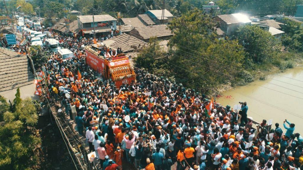 Shah leads massive rally in Nandigram for Suvendhu.