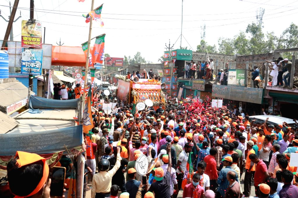 Shah leads massive rally in Nandigram for Suvendhu.