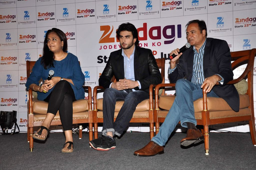 Shailja Kejriwa, Head - Special Projects, Zee TV, Pakistani television actor Imran Abbas and Bharat Ranga, Chief Content & Creative Office, Zee Entertainment Enterprises during the launch of new . - Imran Abbas