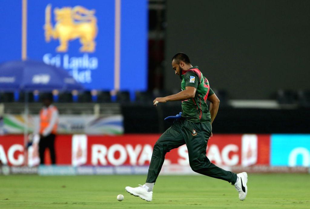 Shakib Al Hasan of Bangladesh in action during Asia Cup 2018 Group B match between Bangladesh and Sri Lanka at Dubai International Cricket Stadium in Dubai, UAE on Sept 15, 2018.