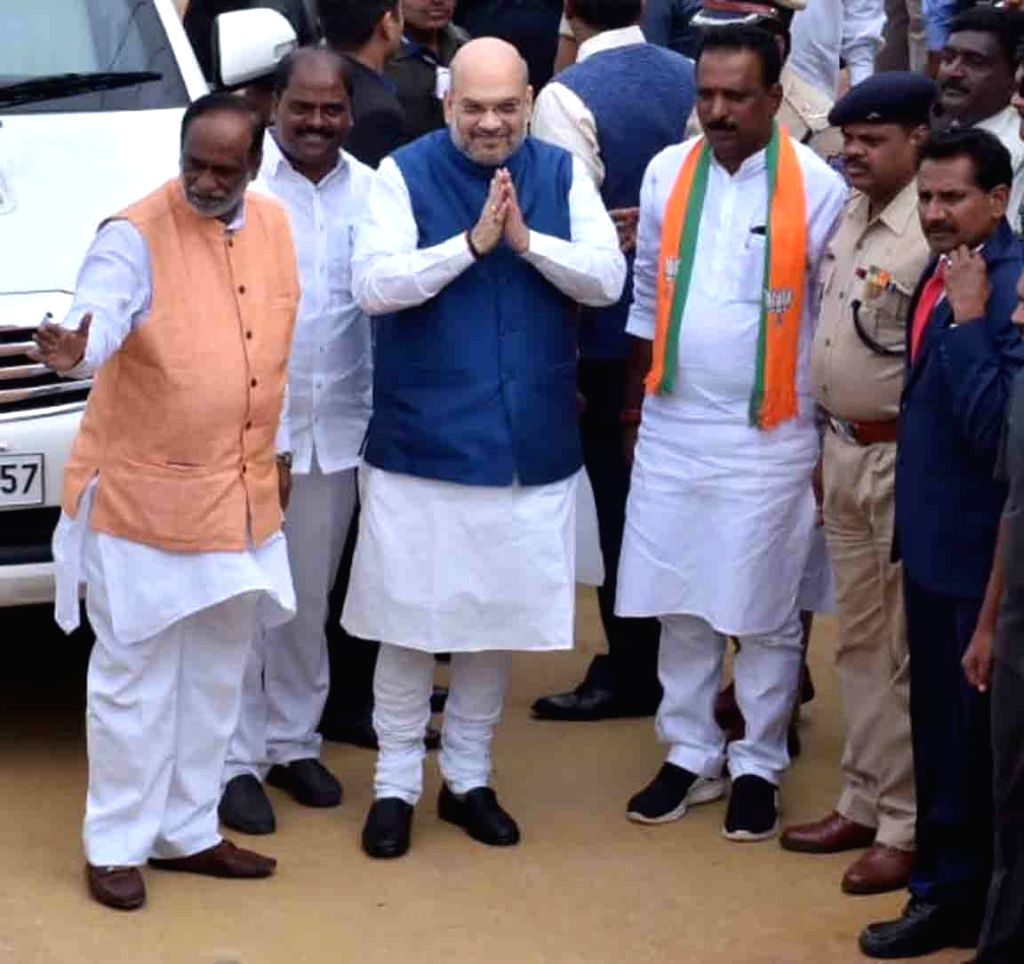 Shamshabad: Union Home Minister Amit Shah at the launch of BJP's membership drive in Shamshabad, Telangana on July 6, 2019. (Photo: IANS) - Amit Shah