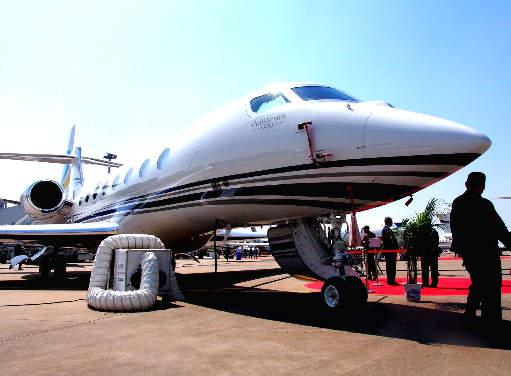 A Gulfstream G650 is displayed at the 2014 Asian Business Aviation Conference & Exhibition (ABACE2014) in east China's Shanghai, April 15, 2014. The ...