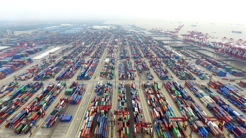 SHANGHAI, April 15, 2016 - This aerial photo taken on March 29, 2016 shows a view of the free trade zone in Shanghai, east China. China's GDP stood at 15.9 trillion RMB yuan (2.4 trillion U.S. ...