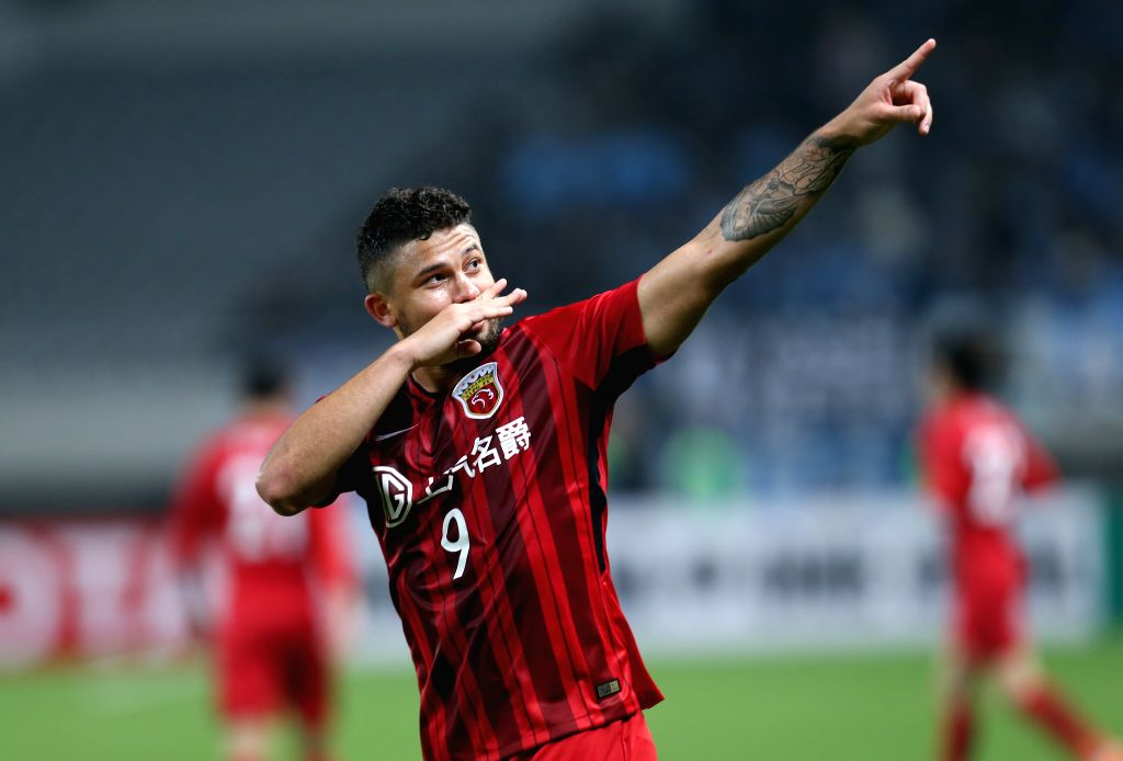 SHANGHAI, April 4, 2018 - Elkeson of Shanghai SIPG FC celebrates after scoring during the AFC Champions League group F soccer match between China's Shanghai SIPG FC and Japan's Kawasaki Frontale in ...