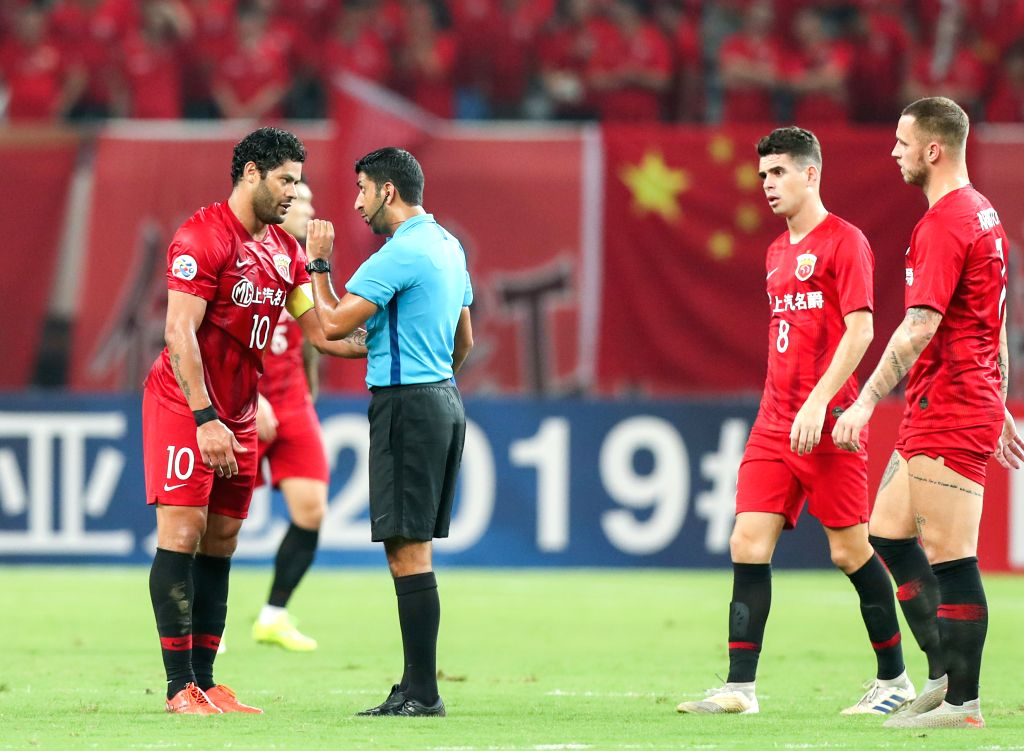 SHANGHAI, Aug. 28, 2019 - Hulk (1st L) of Shanghai SIPG FC reacts during an AFC Champions League match between Shanghai SIPG FC of China and Urawa Red Diamonds of Japan in Shanghai, east China, Aug. ...