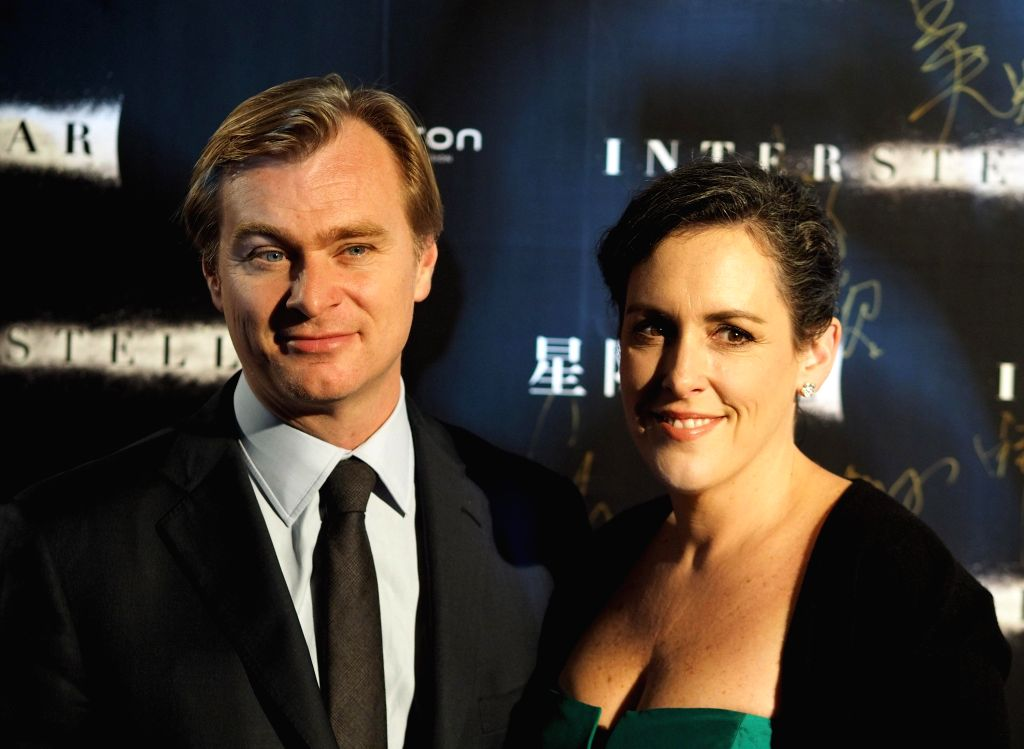 Shanghai (China): Director Christopher Nolan with his wife and producer Emma Thomas attend the Asia's premiere of the movie `Interstellar` in Shanghai Xintiandi. The film will be November 12 landed ..