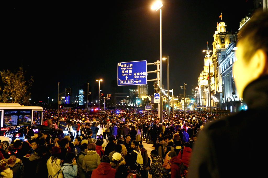 Photo taken on Dec. 31, 2014 shows the bund area of east China's Shanghai. New Year celebrations in Shanghai's bund area went astray Wednesday night as a stampede ..