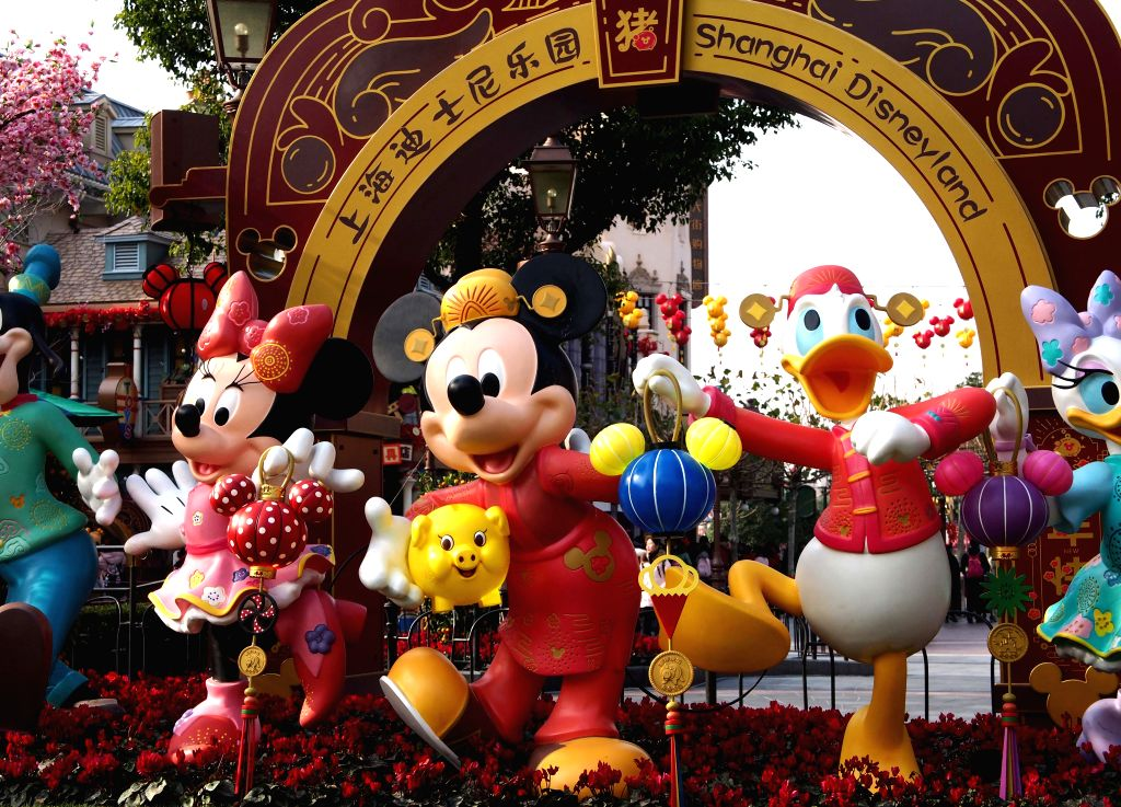 SHANGHAI, Jan. 22, 2019 (Xinhua) -- Decorations are seen at Shanghai Disneyland in Shanghai, east China, Jan. 21, 2019. Shanghai Disneyland presented performances and souvenirs to greet the upcoming Chinese Lunar New Year. (Xinhua/Ren Long/IANS)