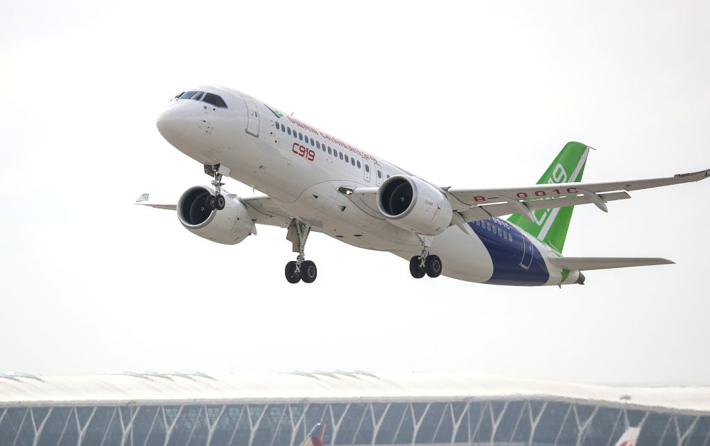 SHANGHAI, July 12, 2018 - The No.102 C919 plane takes off at Pudong Airport in Shanghai, east China, July 12, 2018. After its first long-distance flight from the final assembly line in Shanghai, the ...