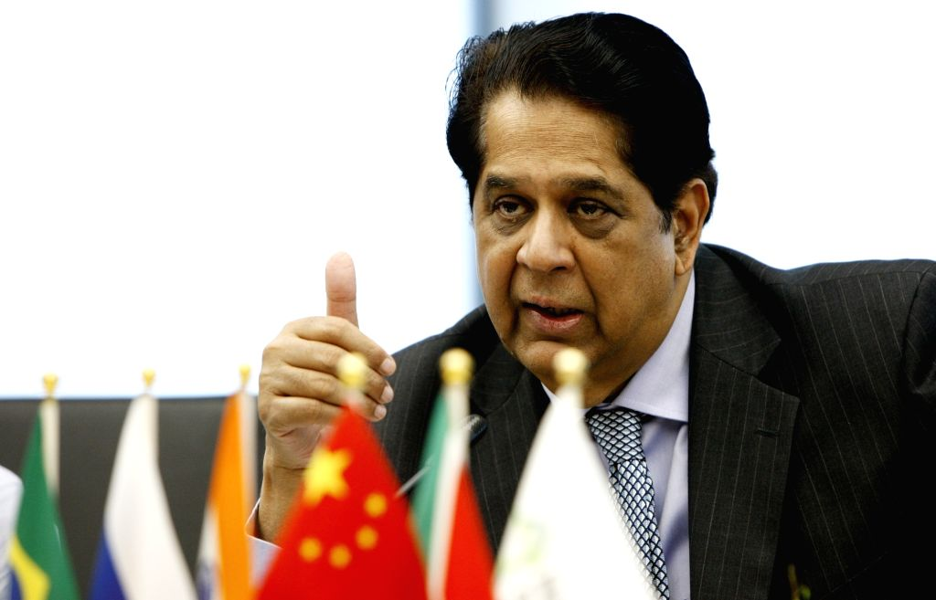 SHANGHAI, July 6, 2017 - President of the BRICS New Development Bank K.V. Kamath answers questions during a press conference in Shanghai, east China, July 6, 2017. The BRICS New Development Bank has ...