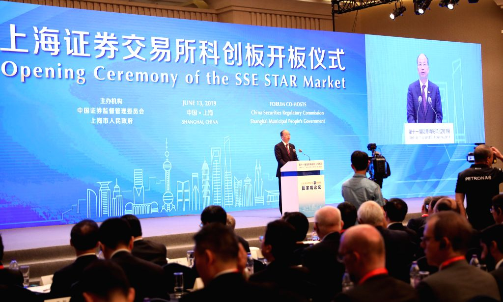 SHANGHAI, June 13, 2019 - Yi Huiman, chairman of the China Securities Regulatory Commission, addresses the launching ceremony of the sci-tech innovation board of the Shanghai Stock Exchange at the ...