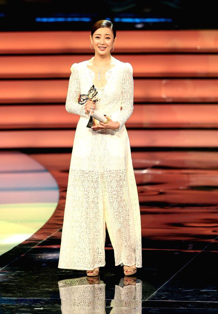SHANGHAI, June 17, 2017 - Actress Yin Tao wins Magnolia Award for best actress of the 23rd Shanghai TV Festival, in Shanghai, east China, June 16, 2017. - Yin Tao
