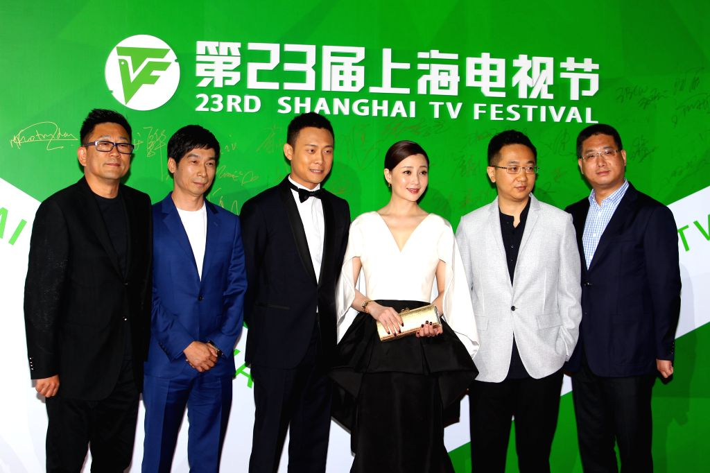 """SHANGHAI, June 17, 2017 - Cast members of the TV series """"Feather Flies to the Sky"""" attend the Magolia Awards Ceremony of the 23rd Shanghai TV Festival, in Shanghai, east China, June 16, ..."""