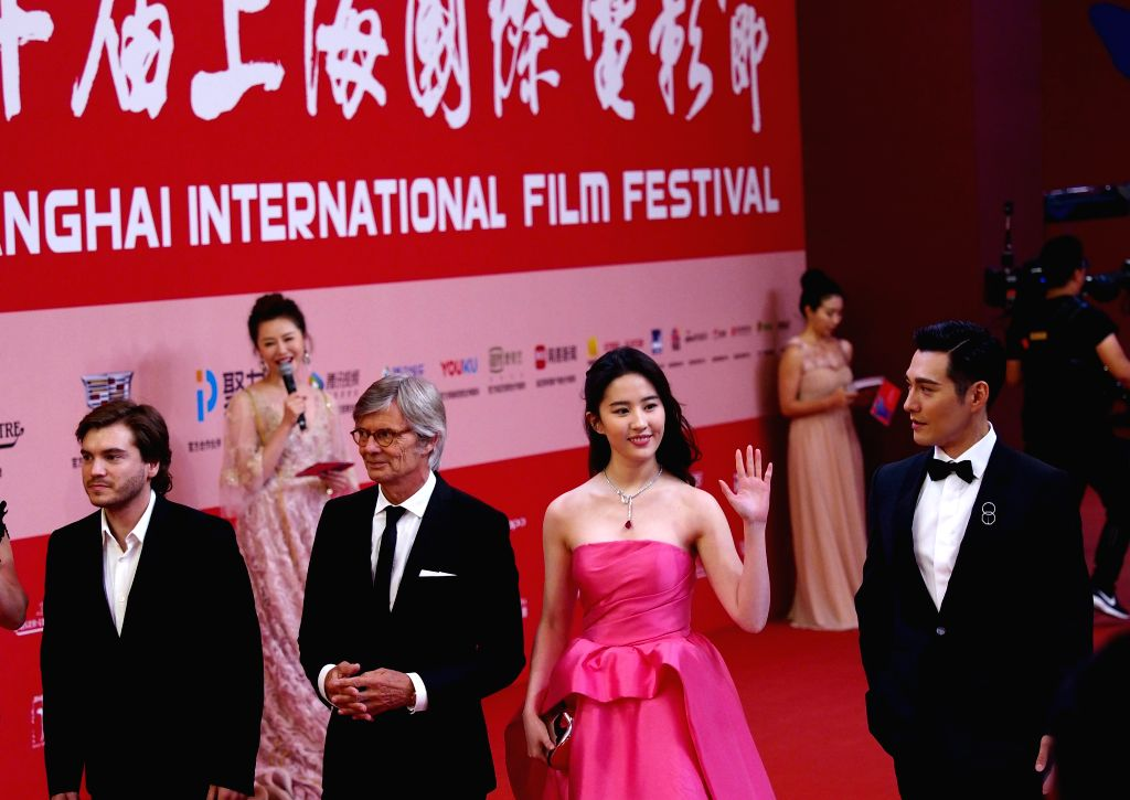 SHANGHAI, June 18, 2017 - Actress Liu Yifei (front, 2nd R) and actor Kevin Yan (front, 1st R) attend the 20th Shanghai International Film Festival in Shanghai, east China, June 17, 2017. The 20th ... - Liu Yifei