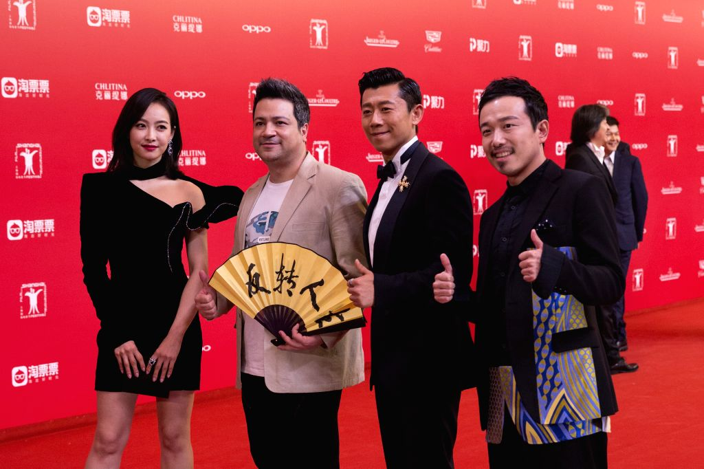 "SHANGHAI, June 18, 2017 - Cast members of film ""Wished"" attend the 20th Shanghai International Film Festival in Shanghai, east China, June 17, 2017. The 20th Shanghai International Film ..."
