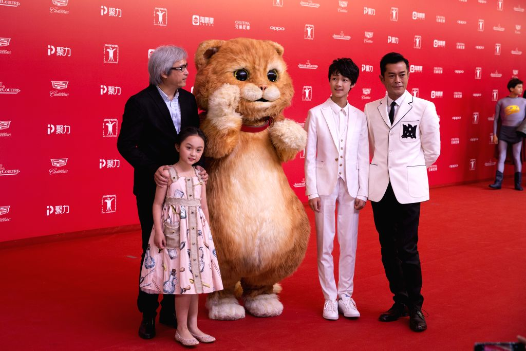 "SHANGHAI, June 18, 2017 - Cast members of flim ""Meow"" attend the 20th Shanghai International Film Festival in Shanghai, east China, June 17, 2017. The 20th Shanghai International Film ..."