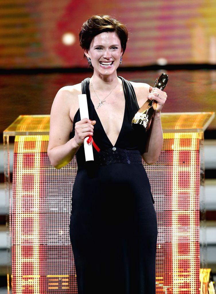 Actress Krista Kosonen wins the Jinjue Award for Best Actress during the awarding ceremony of the Shanghai International Film Festival, in Shanghai, east China, ... - Krista Kosonen