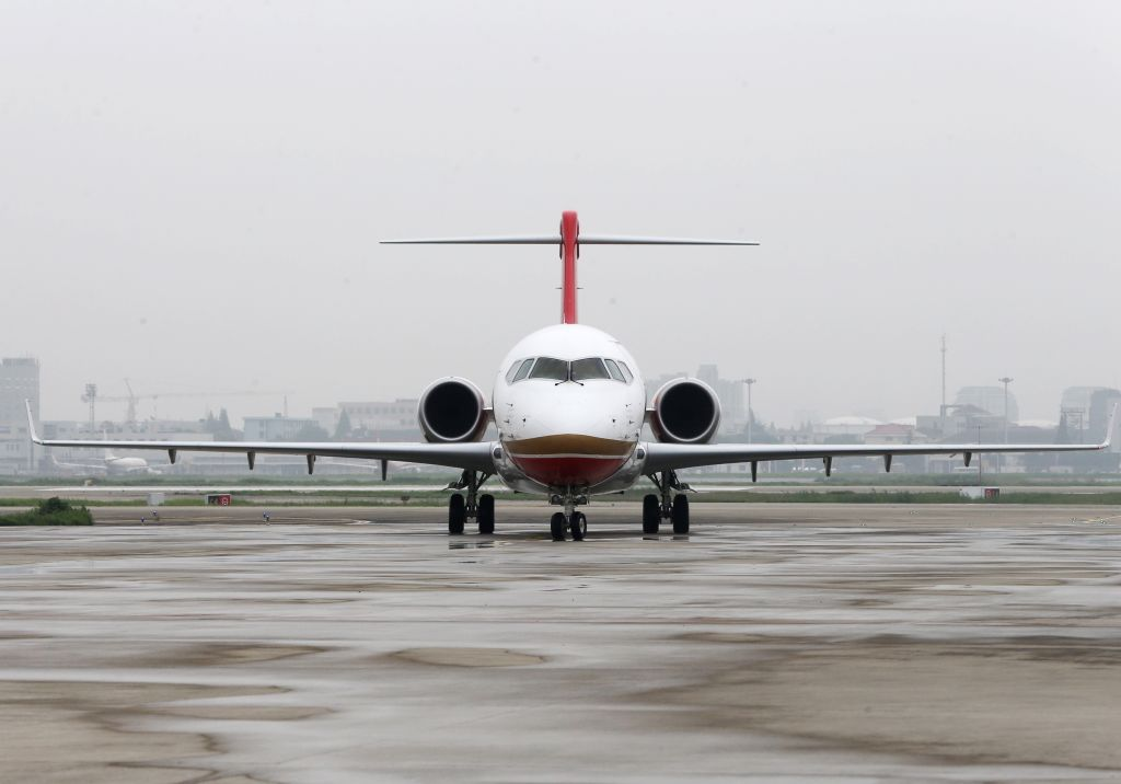 SHANGHAI, June 28, 2016 - Chengdu Airlines ARJ21-700 arrives at Hongqiao International Airport in Shanghai, east China, June 28, 2016. ARJ21, manufactured by the Commercial Aircraft Corp. of China ...