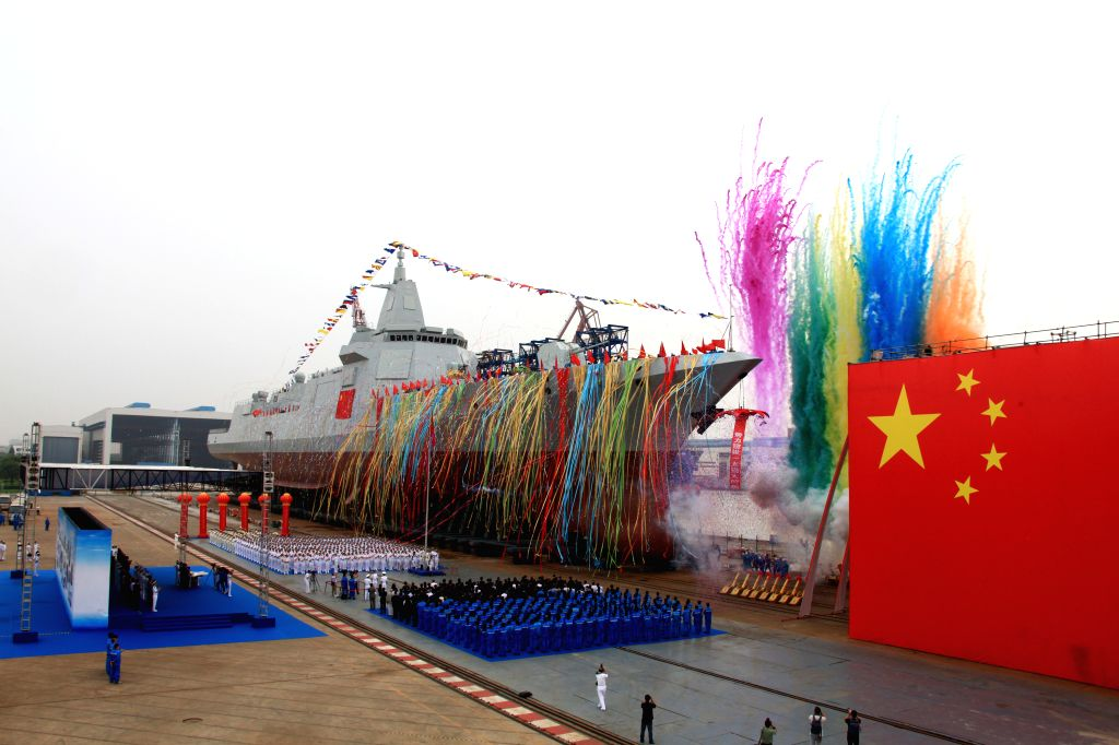SHANGHAI, June 28, 2017 - Chinese Navy's new destroyer, a 10,000-tonne domestically designed and produced vessel, is launched at Jiangnan Shipyard (Group) in east China's Shanghai Municipality, June ...