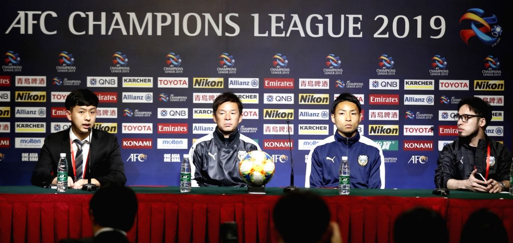 SHANGHAI, March 5, 2019 - Japan's Kawasaki Frontale's head coach Toru Oniki (2nd L) and player Yu Kobayashi (2nd R) look on during the pre-match press conference one day ahead of the group H match ...